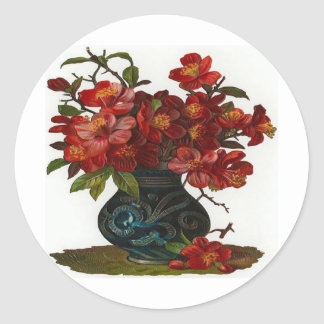 Vase of Red Flowers Round Stickers