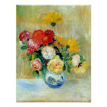Vase of Roses and Dahlias by Renoir Print