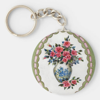 Vase of Roses with A Ribbon Frame Key Chain
