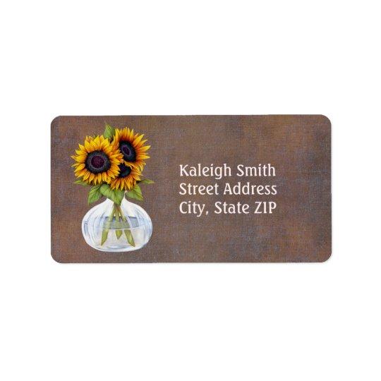 Vase of Sunflowers on Rustic Brown Address Address Label