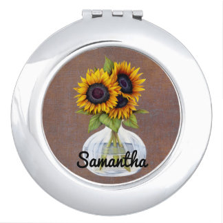 Vase of Three Beautiful Sunflowers Personalized Mirror For Makeup