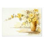Vase of Yellow Roses Still Life Custom Announcement