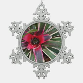 Vase Plant Pewter Snowflake Ornament