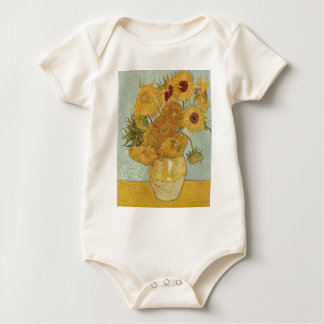 Vase with 12 Sunflowers Baby Bodysuits