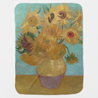 Vase with 12 Sunflowers by Vincent Van Gogh Baby Blanket