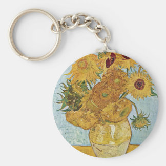 Vase With 12 Sunflowers By Vincent Van Gogh Basic Round Button Key Ring