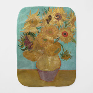Vase with 12 Sunflowers by Vincent Van Gogh Burp Cloth