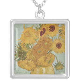 Vase with 12 Sunflowers - Vincent Van Gogh (1888) Square Pendant Necklace