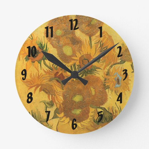 Vase with 15 Sunflowers by Van Gogh Vintage Flower Clock
