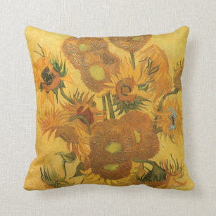 Vase with 15 Sunflowers by Vincent van Gogh Cushion