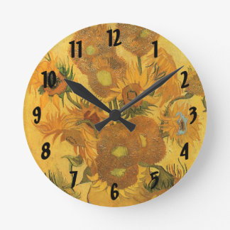 Vase with 15 Sunflowers by Vincent van Gogh Round Clock