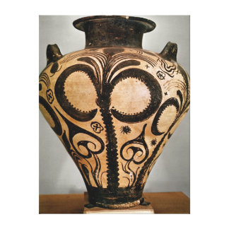 Vase with a floral decoration, from Mycenae Canvas Print