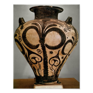 Vase with a floral decoration, from Mycenae Poster