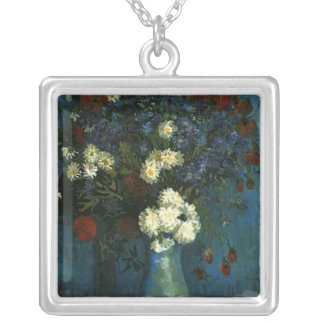 vase with cornflowers and poppies, van Gogh Silver Plated Necklace