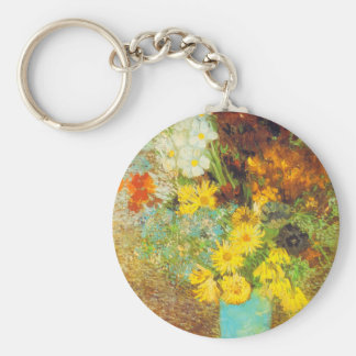 Vase with Daisies and Anemones Print Basic Round Button Key Ring