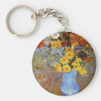 Vase with daisies and anemones - Van Gogh Basic Round Button Key Ring