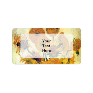 Vase with Fifteen Sunflowers by Vincent van Gogh Address Label