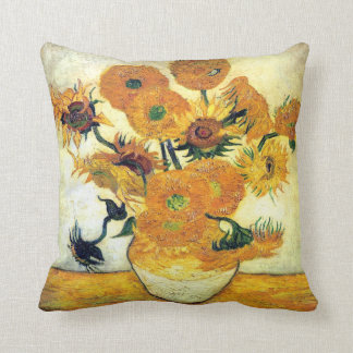Vase with Fifteen Sunflowers by Vincent van Gogh Cushion