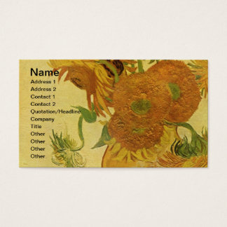 Vase with Fifteen Sunflowers, Van Gogh Fine Art Business Card