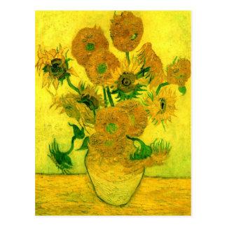 Vase with Fifteen Sunflowers Van Gogh Fine Art Postcard