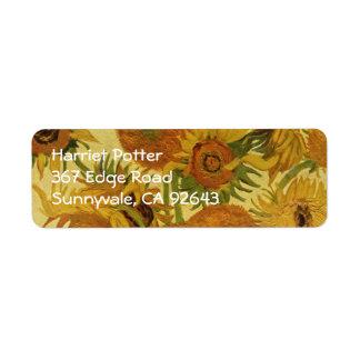 Vase with Fifteen Sunflowers, Van Gogh Fine Art Return Address Label
