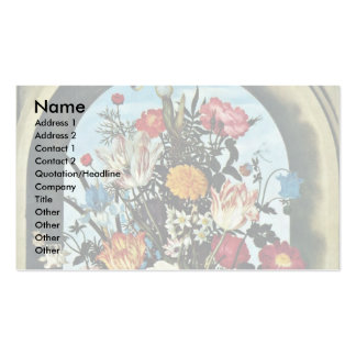 Vase With Flowers In A Window Met Business Card Template
