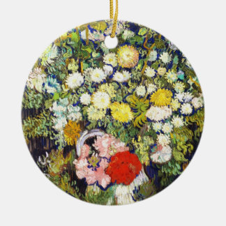 Vase with Flowers Vincent van Gogh fine art Double-Sided Ceramic Round Christmas Ornament