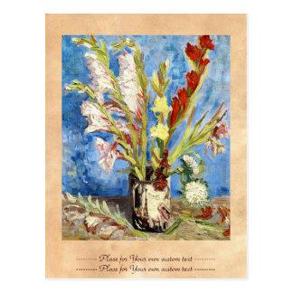 Vase with Gladioli and China Asters van gogh Postcard