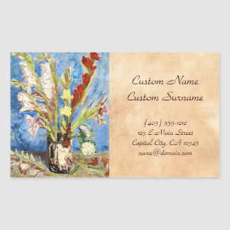 Vase with Gladioli and China Asters van gogh Rectangular Stickers