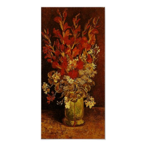 Vase with Gladioli & Carnations Van Gogh Fine Art Poster