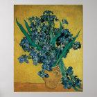 Vase with Irises by Vincent van Gogh, Vintage Art Poster