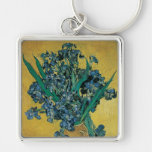 Vase with Irises, Yellow Background by Van Gogh Silver-Colored Square Key Ring