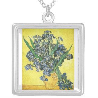 vase with irises yellow background van Gogh Custom Jewelry