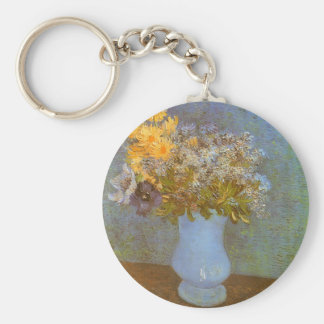 Vase with Lilacs, Daisies, Anemones by Van Gogh Basic Round Button Key Ring