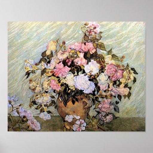 Vase with Pink Roses Van Gogh Fine Art Poster