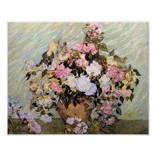 Vase with Pink Roses Van Gogh Fine Art Poster