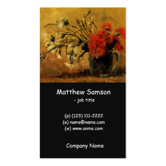 Vase with Red and White Carnations Business Card Template