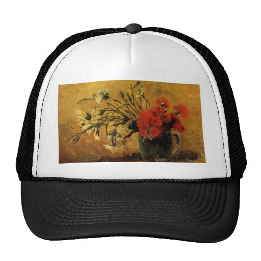 Vase with Red and White Carnations Trucker Hat