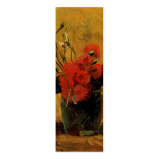 vase with red and white carnations, van Gogh Business Card Template