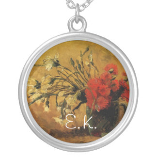 vase with red and white carnations, van Gogh Silver Plated Necklace