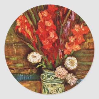 Vase With Red Gladiolideutsch: Still Life With Red Classic Round Sticker