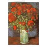 Vase with Red Poppies by Van Gogh, Vintage Flowers Greeting Card