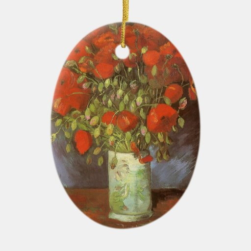 Vase with Red Poppies by Van Gogh, Vintage Flowers Ceramic Oval Decoration
