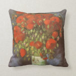 Vase with Red Poppies by Van Gogh, Vintage Flowers Throw Cushions