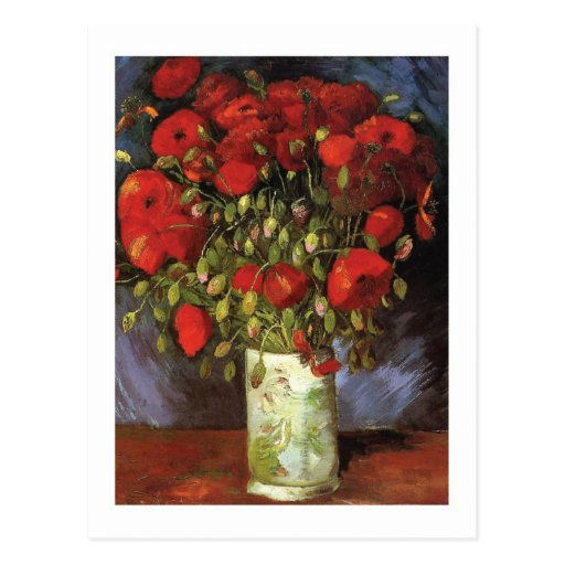 Vase With Red Poppies by Vincent Van Gogh Postcard