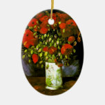 Vase with Red Poppies Van Gogh Fine Art Ceramic Oval Decoration