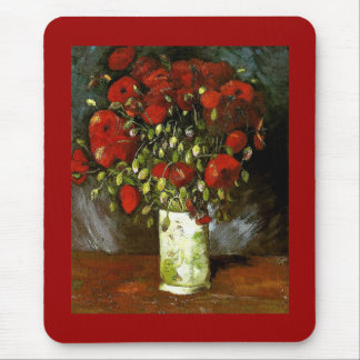 Vase with Red Poppies Van Gogh Fine Art Mouse Pad