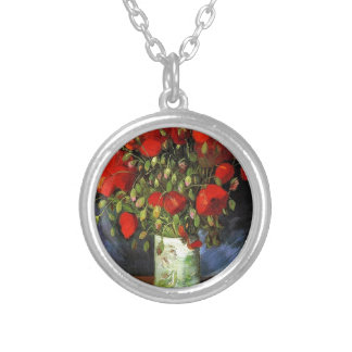 Vase with Red Poppies Vincent van Gogh Round Pendant Necklace