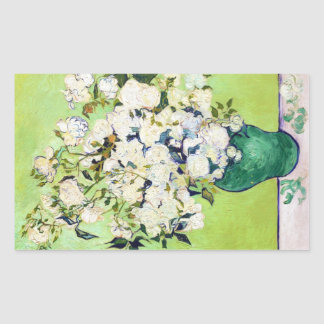 Vase with Roses Vincent Van Gogh painting Rectangular Sticker