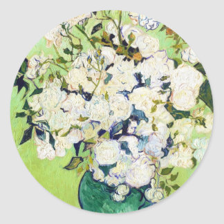Vase with Roses Vincent Van Gogh painting Round Stickers